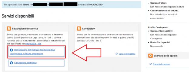 Registrazione del codice destinatario come indirizzo telematico di riferimento.