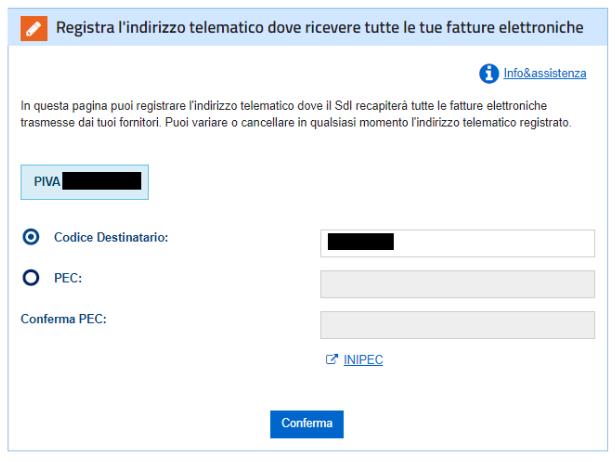Registrazione dell'indirizzo telematico con codice destinatario.