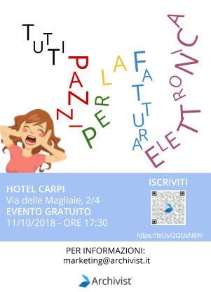 Locandina seminario fatturazione elettronica a Carpi.Locandina seminario fatturazione elettronica a Carpi.