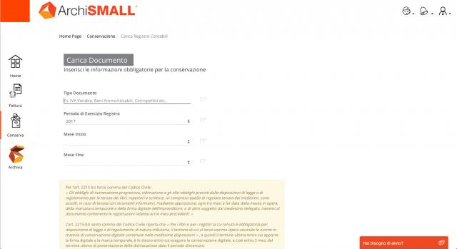 Conservazione Digitale - Carica documento