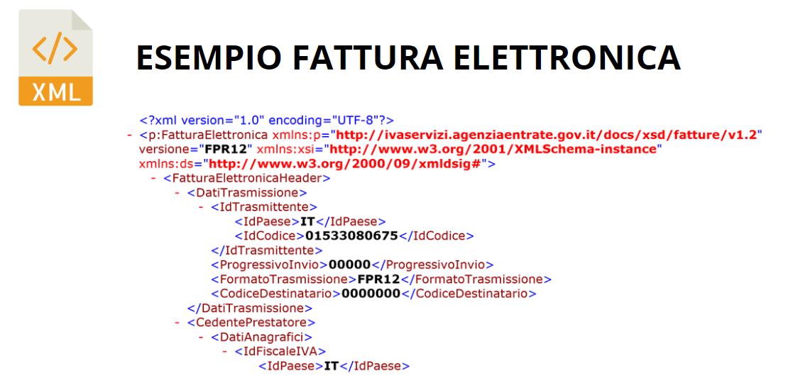 esempio fattura elettronica xml